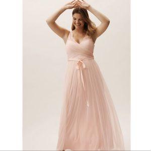 BHLDN Blush Pink Fleur Tulle Maxi Dress Gown 12